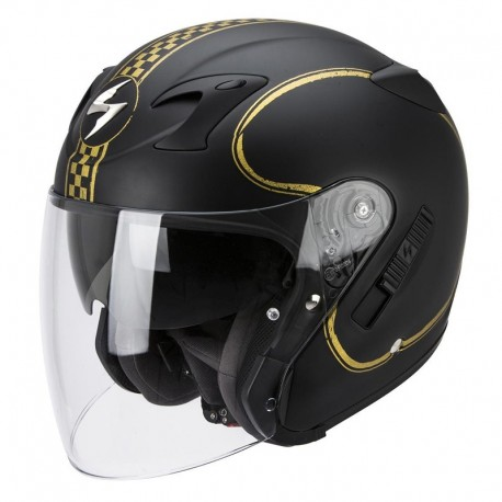 CASCO SCORPION EXO220 BIXBY NEGRO MATE ORO