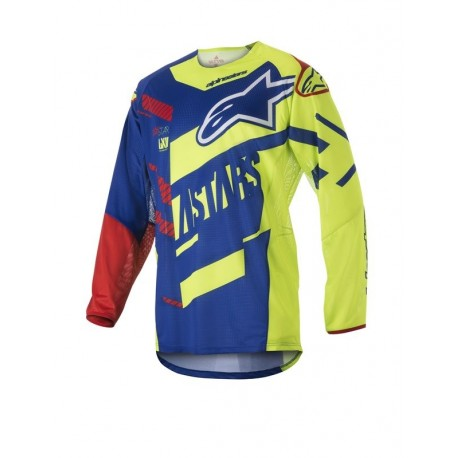 JERSEY ALPINESTARS TECHSTAR SCREAMER AZUL AMARILLO FLUOR ROJO