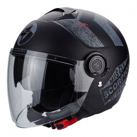 CASCO SCORPION EXO-CITY HERITAGE NEGRO MATE PLATA