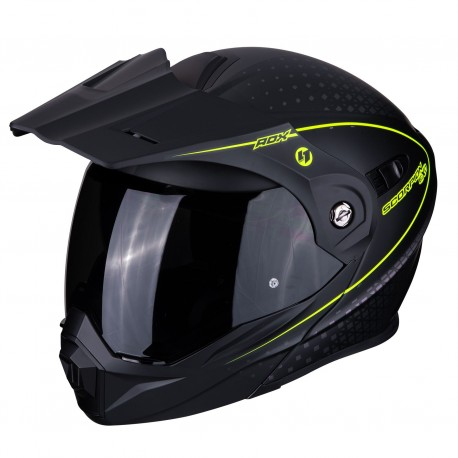 CASCO SCORPION ADX1 HORIZON NEGRO MATE AMARILLO FLUOR