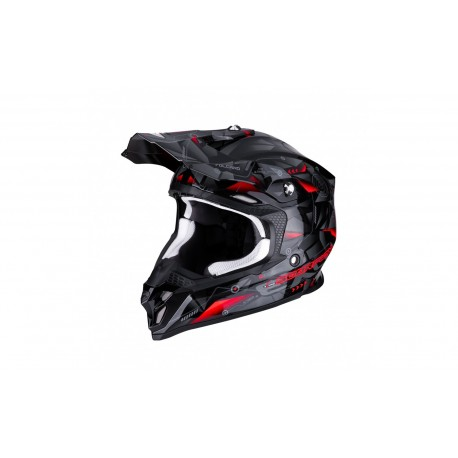 CASCO SCORPION VX16 PUNCH NEGRO PLATA ROJO