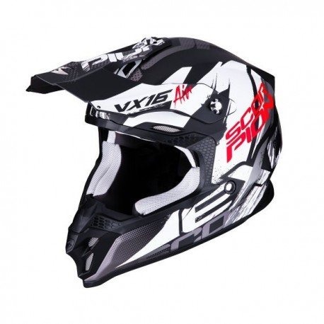 CASCO SCORPION VX16 ALBION NEGRO MATE BLANCO