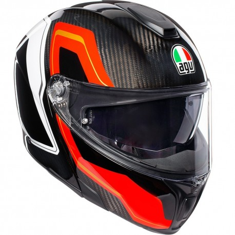 CASCO AGV SPORTMODULAR SHARP CARBON ROJO BLANCO