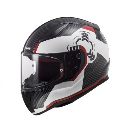 CASCO LS2 FF320 RAPID GHOST BLANCO NEGRO ROJO