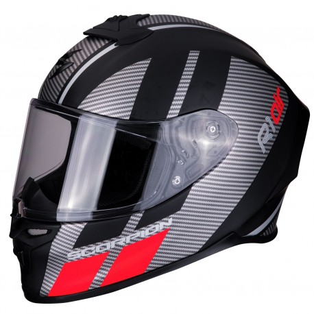 CASCO SCORPION EXO-R1 AIR CORPUS NEGRO MATE PLATA ROJO