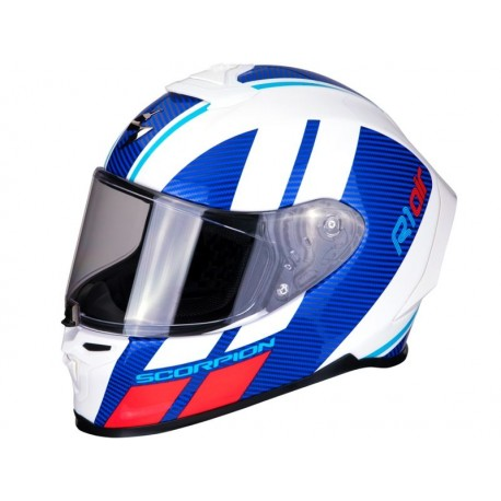 CASCO SCORPION EXO-R1 AIR CORPUS BLANCO AZUL ROJO