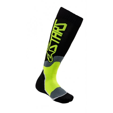 CALCETA ALPINESTARS YOUTH MX PLUS 2 NEGRO AMARILLO FLUOR