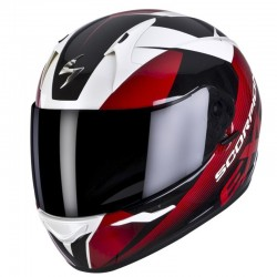 CASCO SCORPION EXO 410 SLICER BLANCO NEGRO ROJO