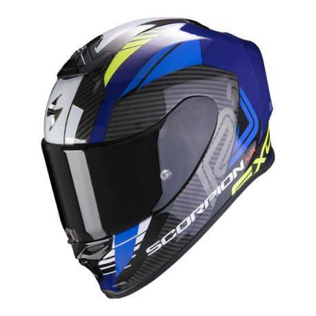 CASCO SCORPION EXO-R1 HALLEY AZUL AMARILLO FLUOR