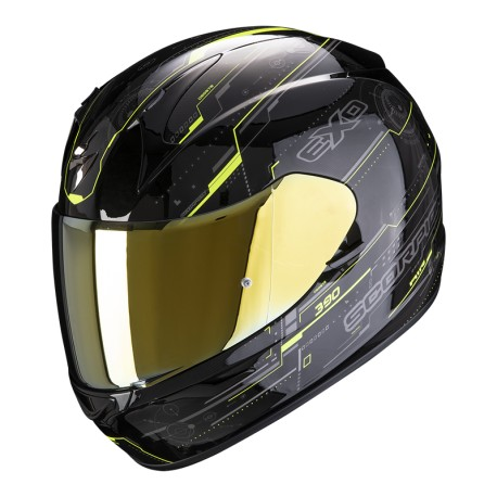 CASCO SCORPION EXO390 BEAT AMARILLO FLUOR NEGRO