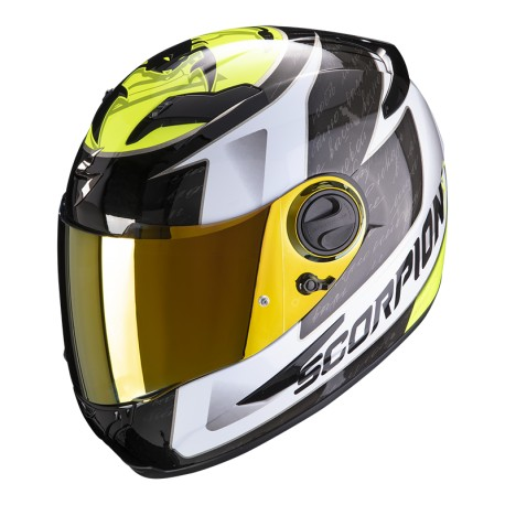 CASCO SCORPION EXO490 TOUR BLANCO AMARILLO FLUOR