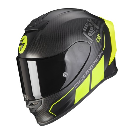 CASCO SCORPION EXO-R1 CARBON AIR CORPUS II NEGRO MATE AMARILLO FLUOR