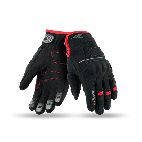 GUANTES SEVENTY DEGREES SD-C43 URBAN NEGRO ROJO