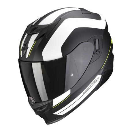 CASCO SCORPION EXO-520 AIR LEMANS NEGRO MATE PLATA BLANCO