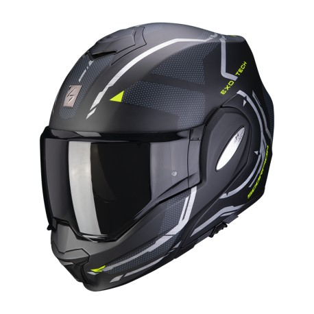 CASCO SCORPION EXO-TECH SQUARE NEGRO MATE AMARILLO FLUOR