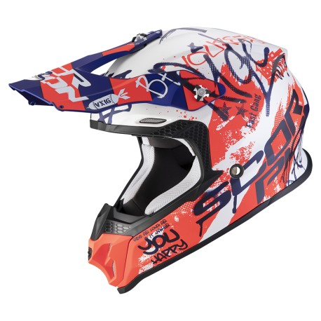CASCO SCORPION VX-16 AIR ORATIO BLANCO MATE AZUL ROJO