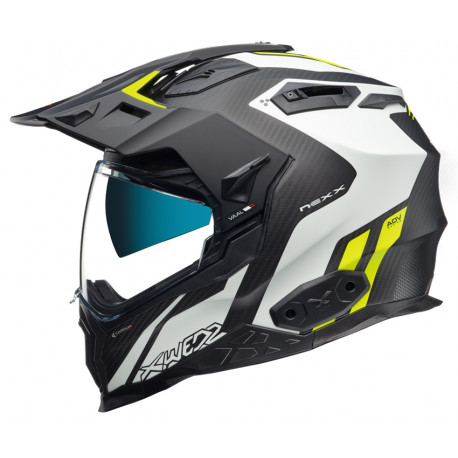 CASCO NEXX X.WED2 CARBON VAAL BLANCO AMARILLO FLUOR NEGRO MATE