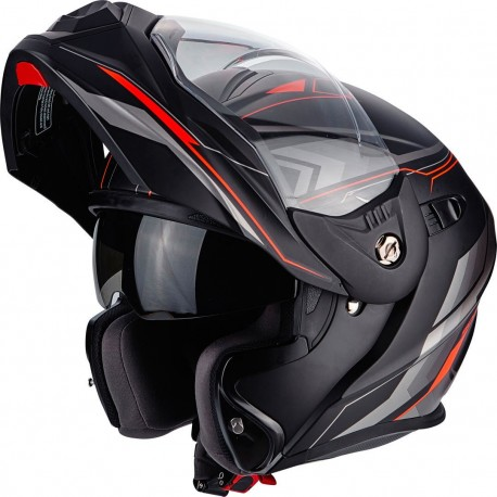 CASCO SCORPION ADX-1 ANIMA NEGRO MATE ROJO