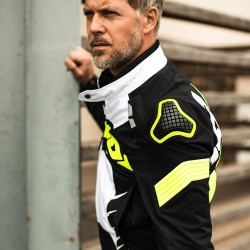 CHAQUETA SPIDI WARRIOR TEX NEGRO BLANCO AMARILLO FLUOR