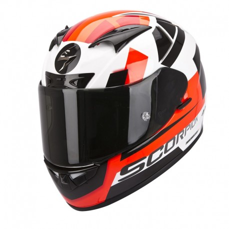 CASCO SCORPION 710 SQUARE BLANCO ROJO