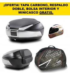 MALETA SHAD SH48 NEGRO TITANIO + TAPA CARBONO + DOBLE RESPALDO + BOLSA INTERIOR + MINICASCO