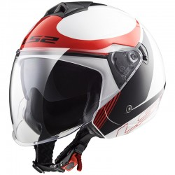 CASCO LS2 OF573 TWISTER PLANE BLANCO NEGRO ROJO