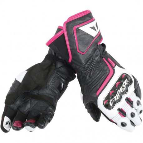GUANTES DAINESE CARBON D1 LONG LADY NEGRO BLANCO ROSA