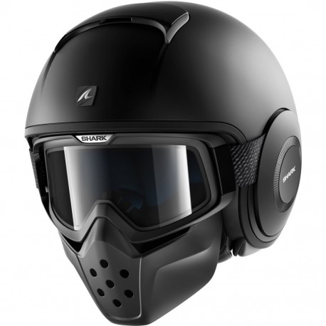 CASCO SHARK DRAK BLANK NEGRO MATE