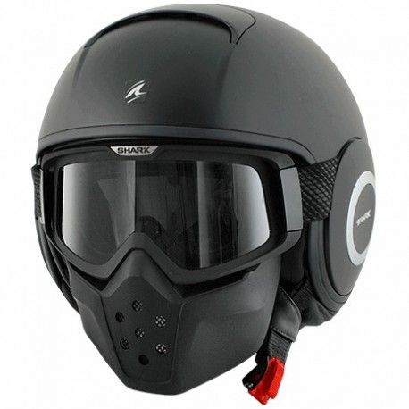 CASCO SHARK RAW BLANK NEGRO MATE