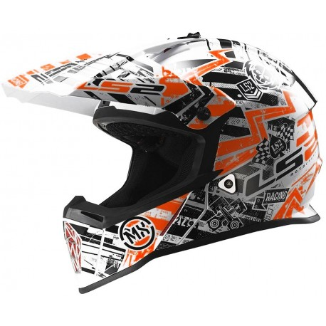 CASCO LS2 MX437 FAST MINI GLITCH BLANCO NEGRO NARANJA