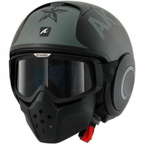 CASCO SHARK RAW SOYOUZ NEGRO MATE GRIS