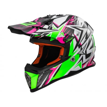 CASCO LS2 MX437 FAST MINI STRONG BLANCO VERDE