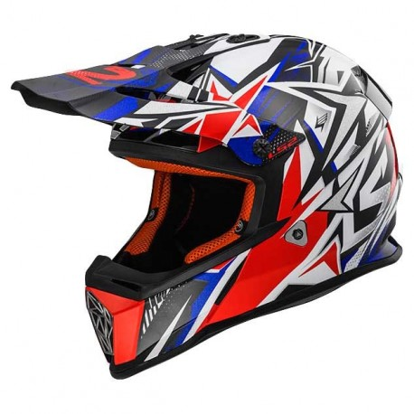 CASCO LS2 MX437 FAST MINI STRONG BLANCO ROJO AZUL