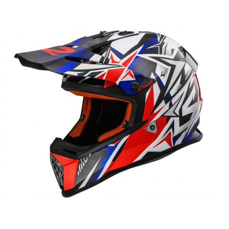 CAPACETE LS2 MX437 FAST STRONG BRANCO VERMELHO AZUL