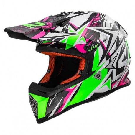 CASCO LS2 MX437 FAST STRONG BLANCO VERDE ROSA