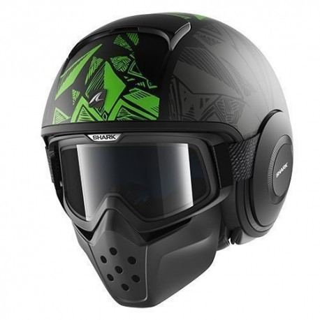 CASCO SHARK RAW DANTE NEGRO VERDE ANTRACITA