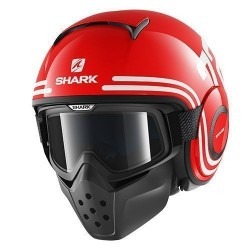 CASCO SHARK RAW 72 ROJO BLANCO NEGRO
