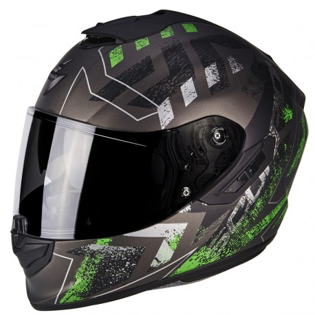 CASCO SCORPION EXO 1400 PICTA NEGRO MATE ROJO FLUOR