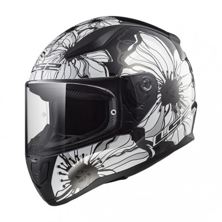 CASCO LS2 FF353 RAPID POPPIES NEGRO BLANCO