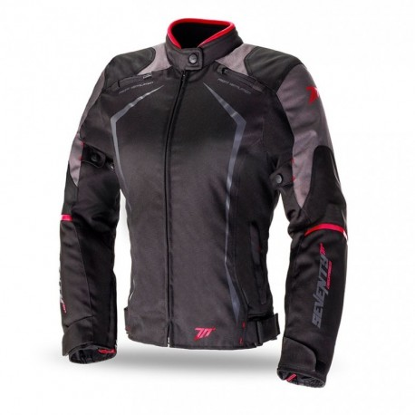 CHAQUETA SEVENTY DEGREES JR49 LADY NEGRO ROJO