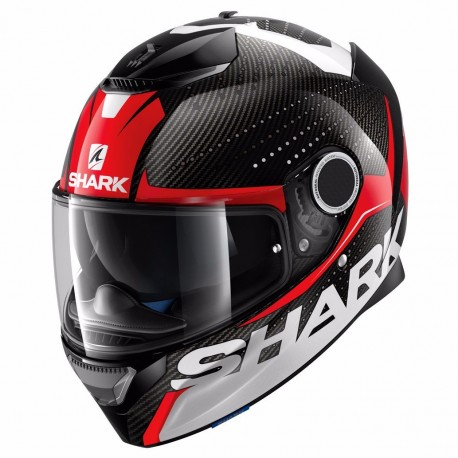 CASCO SHARK SPARTAN CARBON CLIFF ROJO BLANCO NEGRO