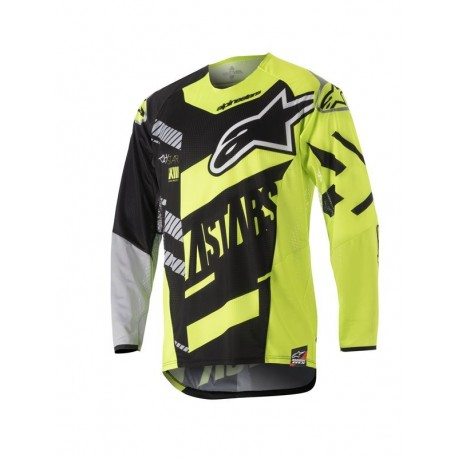 JERSEY ALPINESTARS YOUTH RACER SCREAMER NEGRO AMARILLO FLUOR GRIS