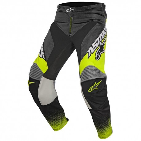PANTALON ALPINESTARS YOUTH RACER SCREAMER NEGRO AMARILLO GLUOR GRIS