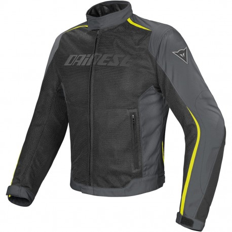 CHAQUETA DAINESE HYDRA FLUX DDRY NEGRO GRIS AMARILLO FLUOR