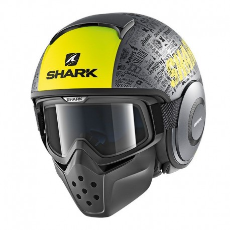 CASCO SHARK DRAK TRIBUTE RM GRIS AMARILLO FLUOR